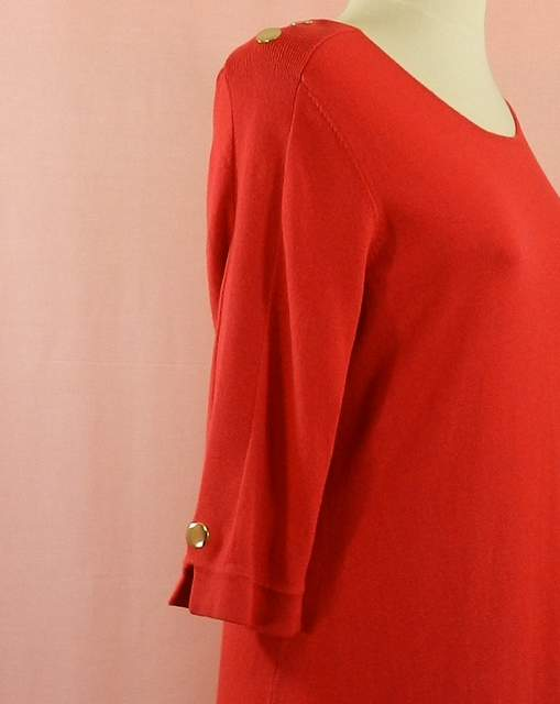 robe manches 3/4 coupe droite couleur rouge