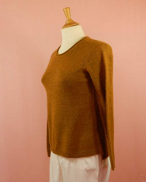 pull femme moutarde col rond confortable