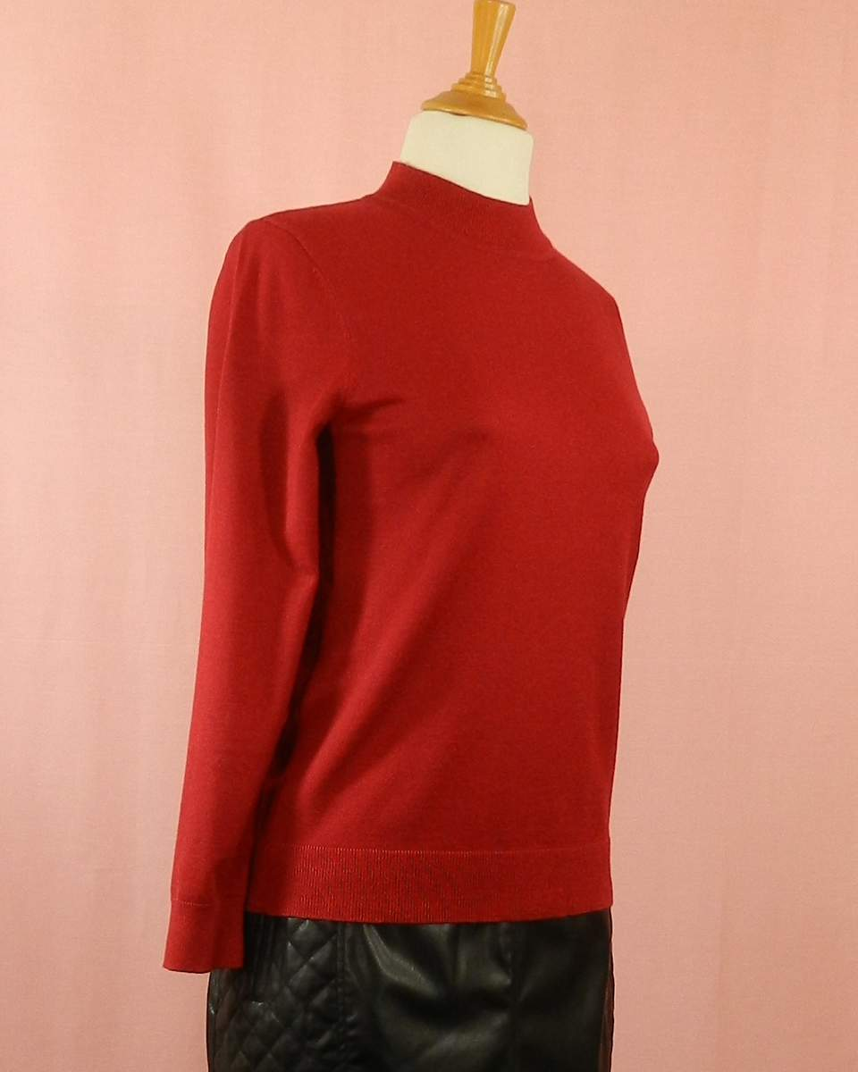 pull femme grande taille rouge - fin et chaud - col montant