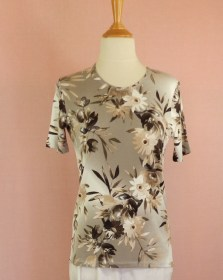 tee shirt viscose taupe manches courtes