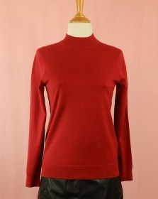 pull grande taille femme rouge - fin et chaud - col montant