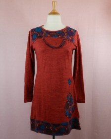 robe en maille polyester et manches longues