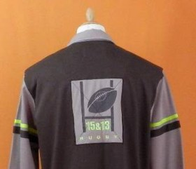 polo de rugby chocolat manches longues taupes - en coton