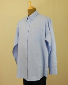Chemise oxford bleue grande taille manches longues